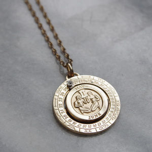 Pierre Cardin Gemini Zodiac Medallion Necklace